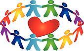 Teamwork around heart logo