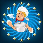 Funny Chef and big saucepan