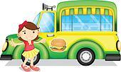 A girl beside a green burger truck