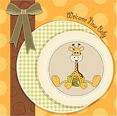 baby shower card with baby giraffe