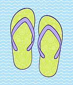 flip-flop on blue wavy backround