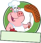 Happy Pig Chef Holding A Steak