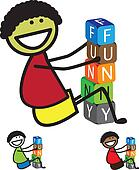 Illustration - cute boy(kid) building words using colorful block
