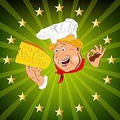 Funny Chef and cheese