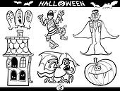 Halloween Cartoon Themes for Coloring Book