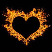 fiery heart on black background.