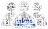 Talent management in word tag cloud