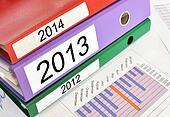 2012,2012,2014 folders on a financial report