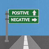 Positive and negative highway sign concept with stitch style on fabric background