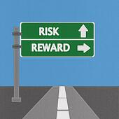 Risk and reward highway sign concept with stitch style on fabric background