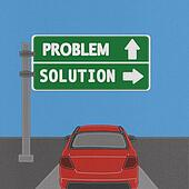 Problem and solution highway sign concept with stitch style on fabric background