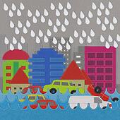 Morden Building and flooding crisis with stitch style on fabric background