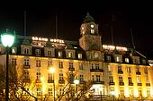 Grand Hotel in Oslo Norway at winter night