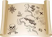 Old Treasure map on scroll