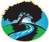 Pecan Tree Winding River Sunrise Retro