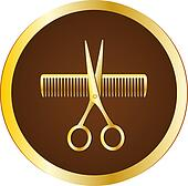 hairdresser sign with scissors