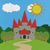 Fairy-tale castle on a green field with stitch style on fabric background