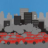 Building and car with stitch style on fabric background