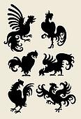 Rooster Silhouette Symbols