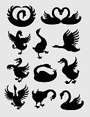 Duck and Swan Silhouettes Vector