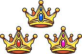 Colden royal crowns with jewelry elements