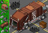 isometric humid waste garbage truck