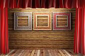 red fabric curtain with frames