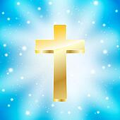 golden cross on light rays blue background