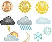 Distressed Weather Icons & Symbols