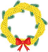 Wreath of branches mimosa
