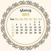 March calender 2013