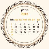 June calender 2013