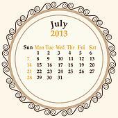 July calender 2013