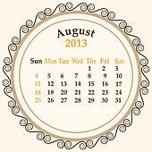 August calender 2013