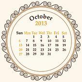 October calender 2013