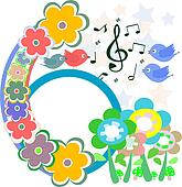 birds in love, singing on abstract flower background