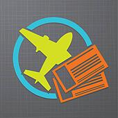 Vector icon with airplane and air tickets