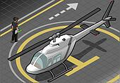 isometric white helicopter landed