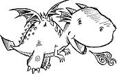 Cute Dragon Sketch Vector Art