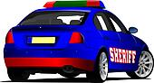 Sheriff`s  car. Police. Vector illustration.