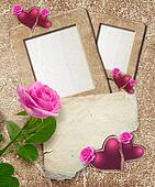 Grunge frame with roses, hearts and paper