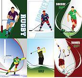 Six sport posters. Football, Ice ho