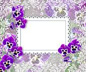 Pansies and openwork frame