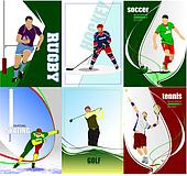 Six sport posters. Football, Ice hockey, tennis, soccer, rugby, golf, skating.