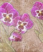 Grunge background with pansy