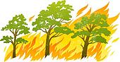 burning forest trees in fire flames