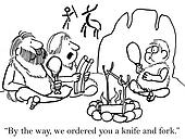 Cave boy must use knife and fork