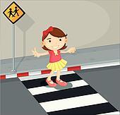 A girl in the pedestrian lane