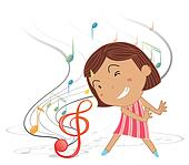 A little girl dancing with musical notes