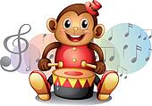 A monkey playing with the drum